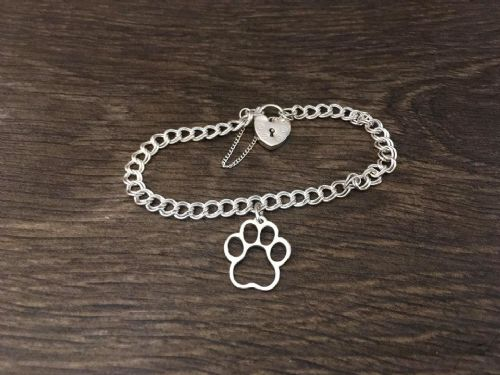 Paw Charm  on a z curb bracelet solid sterling silver handmade